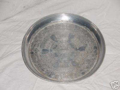 Vintage Aluminum Platter Hand Wrought
