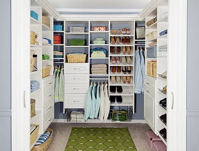 Decora o de closet for New home construction organizer
