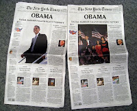 Photo of New York Times front page on November 5, 2008. Photo by Peter Kafka
