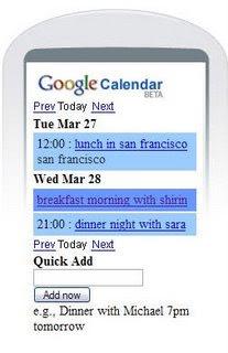 imagen ejemplo de Google Calendar para móviles