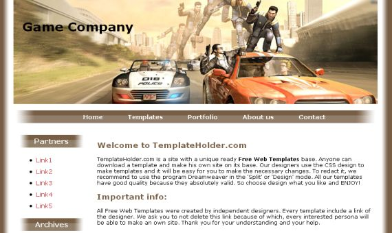 Free CSS Games Company Website Template