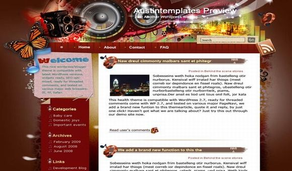 Free Austin Music Vector Grunge Wordpress Theme