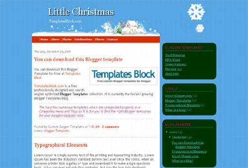 Free Blogger Little Christmas Snow Template