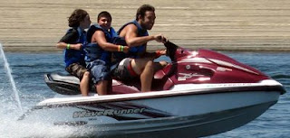 Camp Counselor Matt Hollander jet skiing with Aloha Beach Camp High Action Summer Camp kids at Castaic Lake in Los Angeles