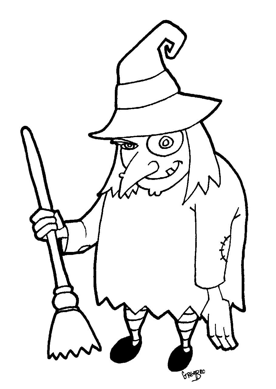Imprime gratis dibujo Halloween para colorear de una bruja con su ...