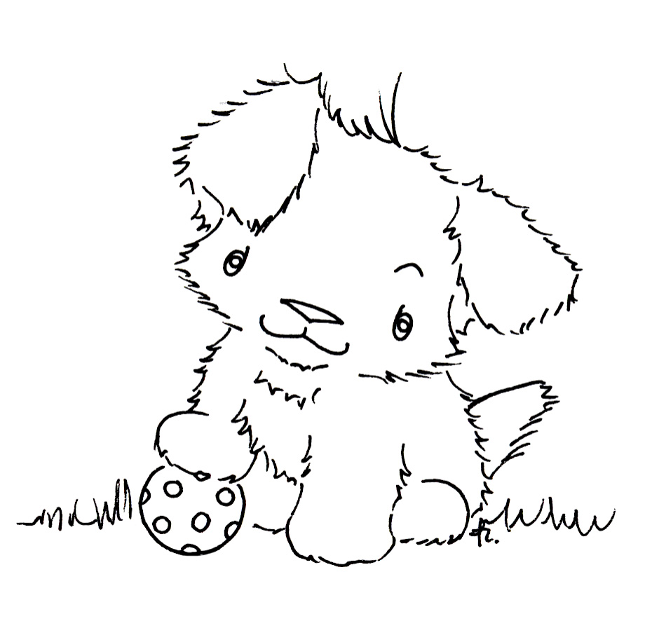 Cute puppy love coloring pages