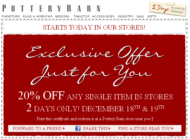 Pottery barn discounts and coupons