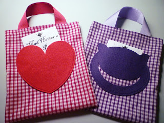 Cheshire Cat and Queen of Hearts party bags