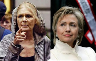 Gloria Steinem and Hillary Clinton - Leftist Harridans