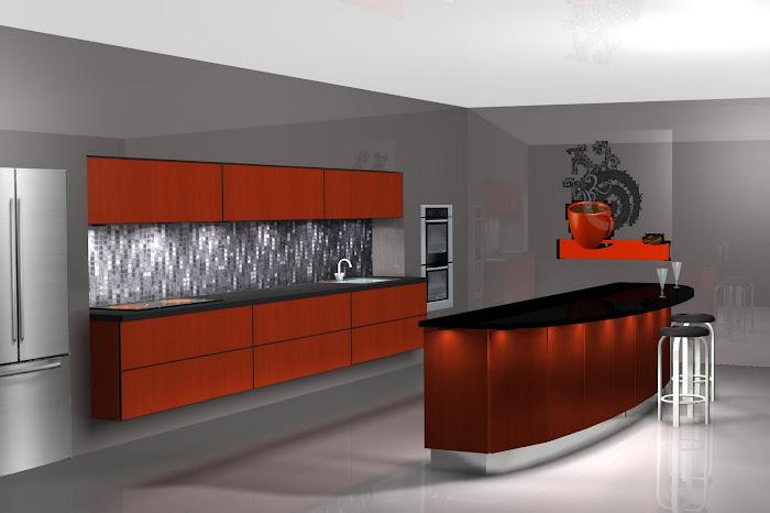 Diseño de cocina, con barra de cafeteria
