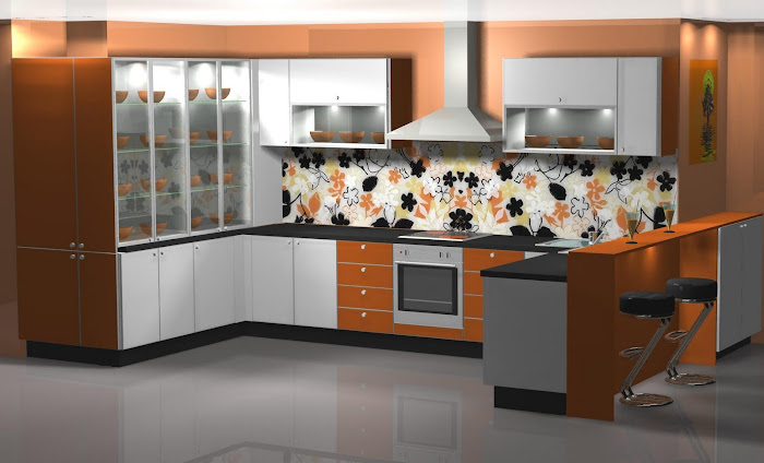 Diseño de cocina en alegre naranja