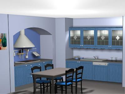 Diseño muebles de cocina: Diseño de cocina rustica en color azul