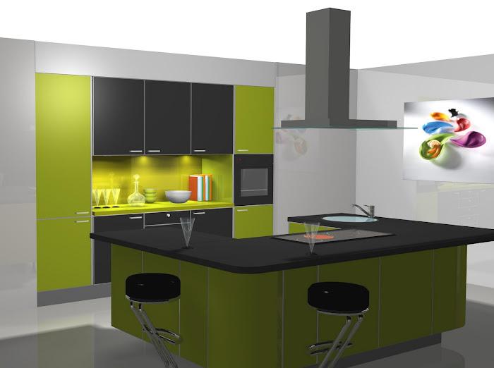 Diseño de cocina con isla en U