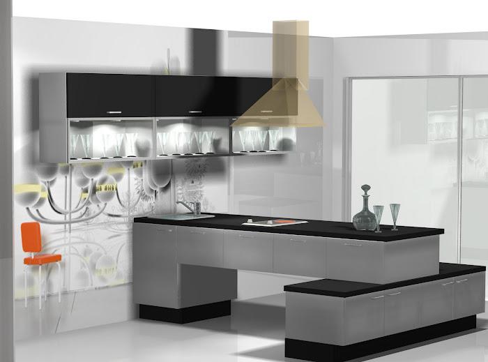 Diseño de cocina en blanco y negro