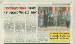 Proclamación del día del exilio Venezolano.