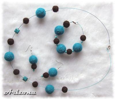 filcowe korale i turkus needle felted necklace