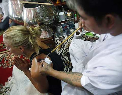 Actress Brittany Daniel At The Tattoo Master Noo Kanpai Parlour In