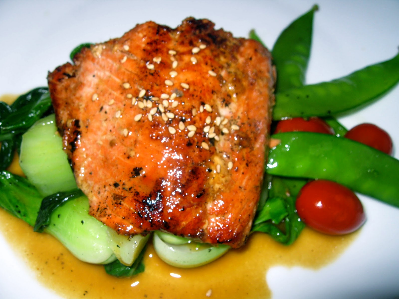 Seared Salmon with -Soy Ginger Glaze and bok choy | Sugar Baking Blog