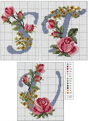 Monograma Rosas ponto cruz