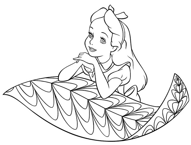 Alice in wonderland coloring pages disney characters for Disney alice in wonderland coloring pages