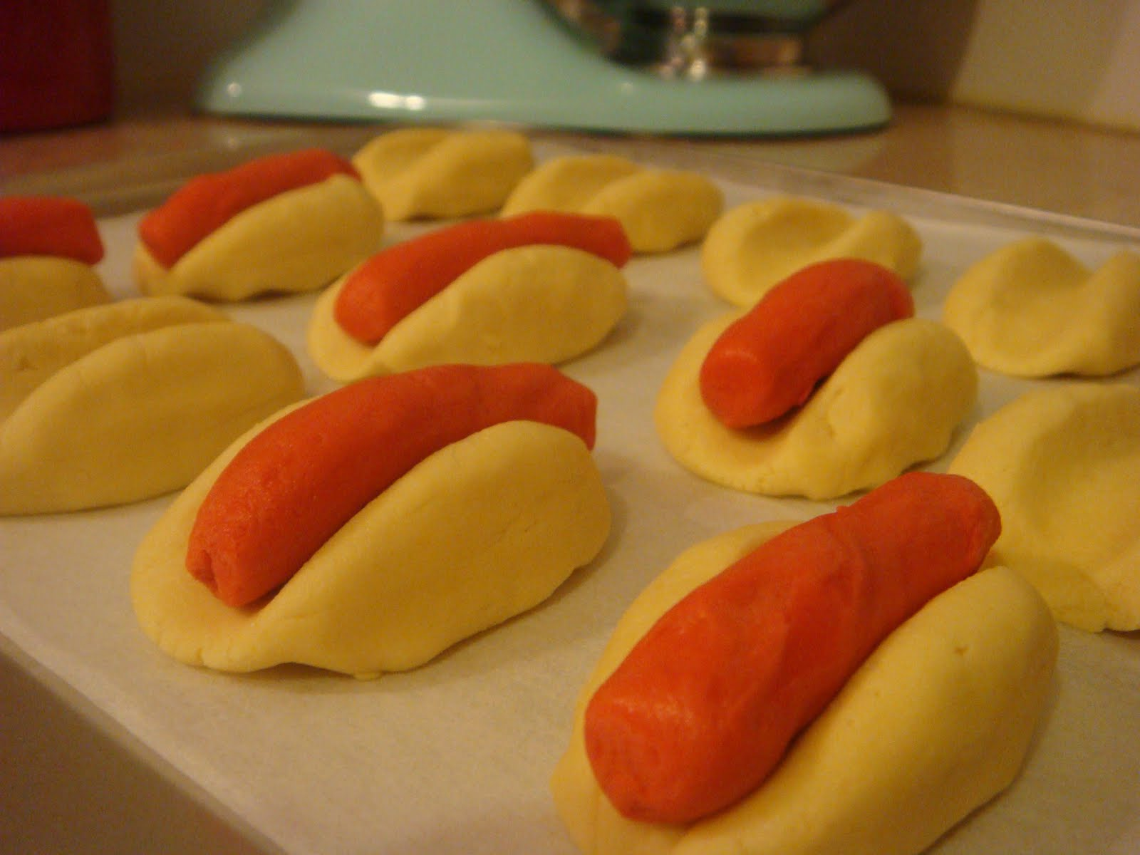 butter hearts sugar: Hot Dog Cookies