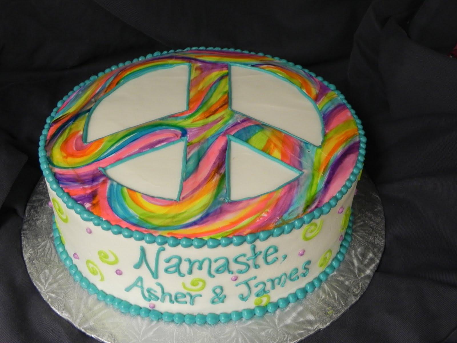 peace symbol birthday cakes
