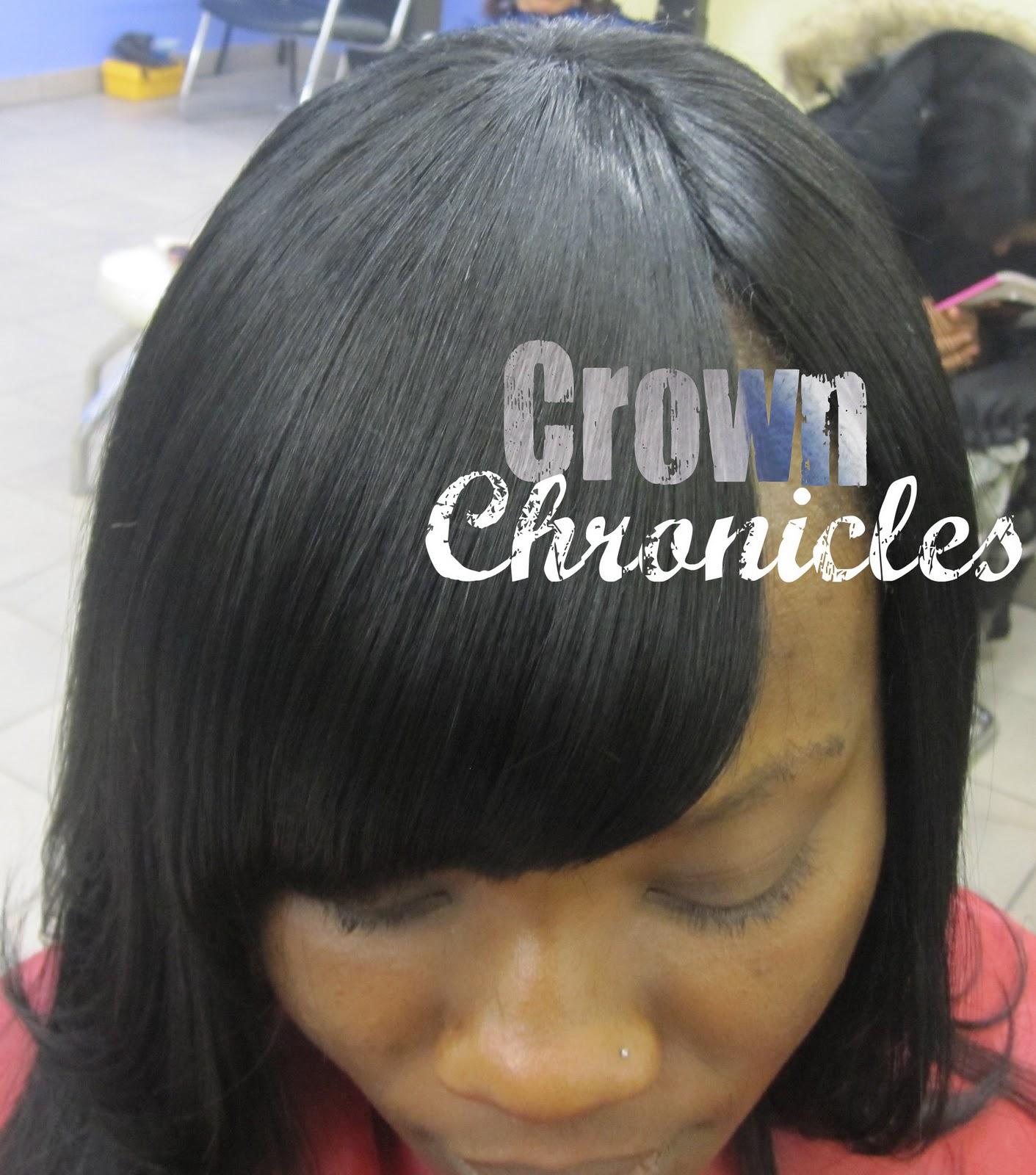 Invisible Part Sew in Weave with Side Bang