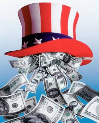Money Falling Out of Uncle Sam Hat