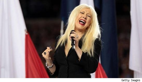 Add insult to injury when Christina Aguilera botched the lyrics before the .