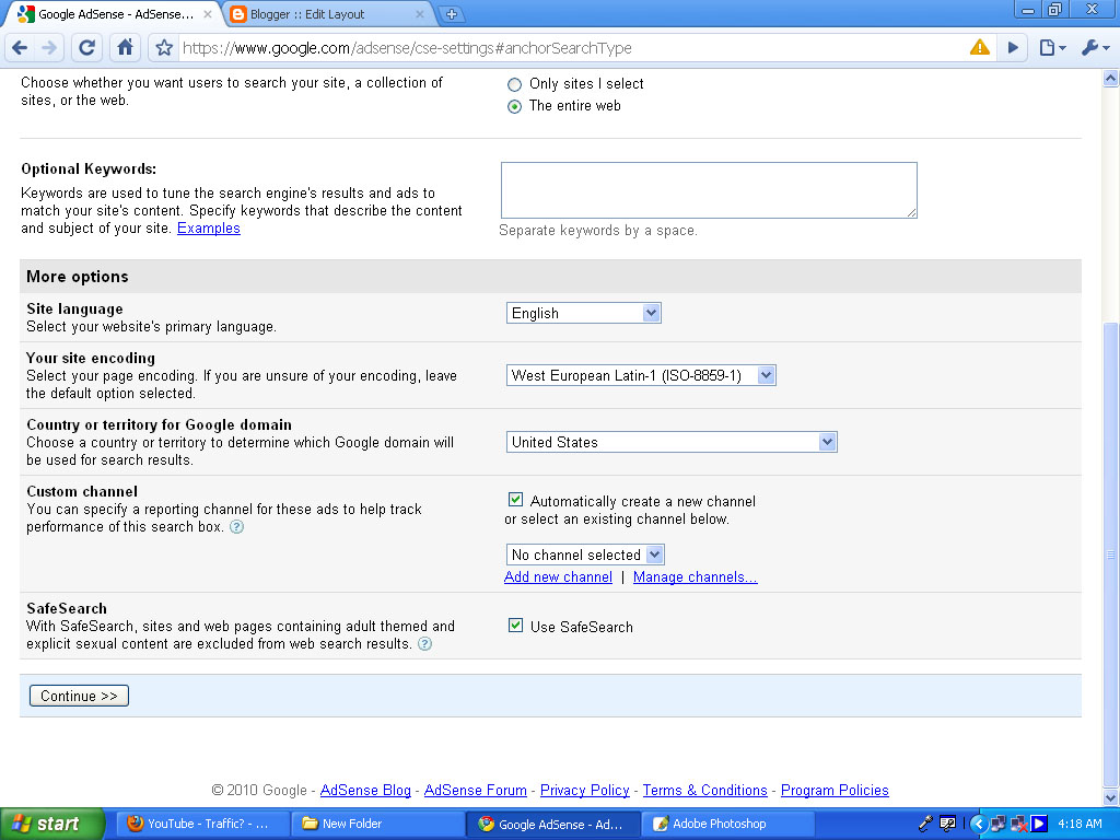 Replacing search bar with google adsense search bar ...