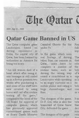 Qatar newspaper article on banned game.