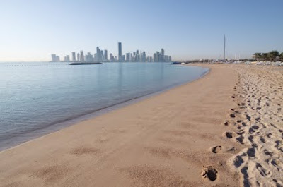 A view of the city from a Doha beach