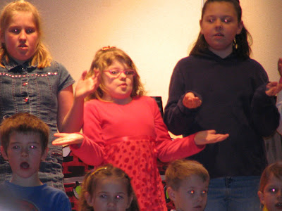 Kennedy singing with her grade four class - A Big Red Fella