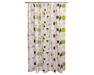 Check Out This New Geometry Primrose Shower Curtain From Dwell Studio Available In Rosy Pink As Well A Sky Blue I Am Leaning More Towards