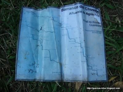 Mapa del barranco Chuveje al final del recorrido