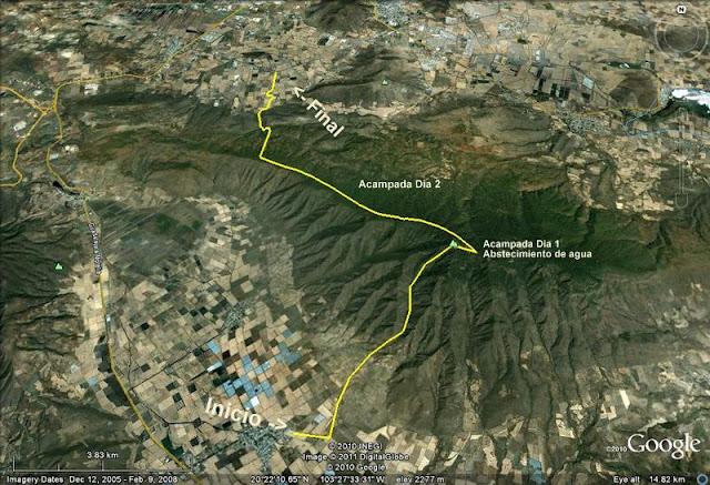 Ruta planeada a Cerro Viejo. Enero 2011