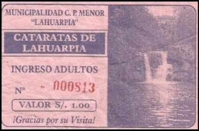 ticket de entrada a la segunda y tercera cascada de lahuarpia (moyobamba)