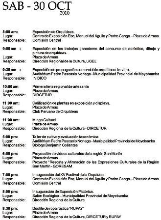 Cronograma del XV Festival de la Orquídea 2010 (Moyobamba, Perú)- Sábado 30 de Octubre