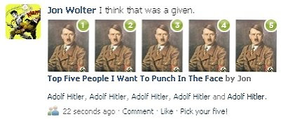 According to the quiz I took: YOU ARE A HITLER PUNCHER.