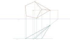 Representação diédrica de uma Pirâmide Pentagonal oblíqua