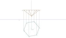 Representação diédrica de uma Pirâmide Hexagonal regular 1
