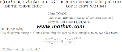 de thi hoc sinh gioi toan 12 quoc gia nam 2011