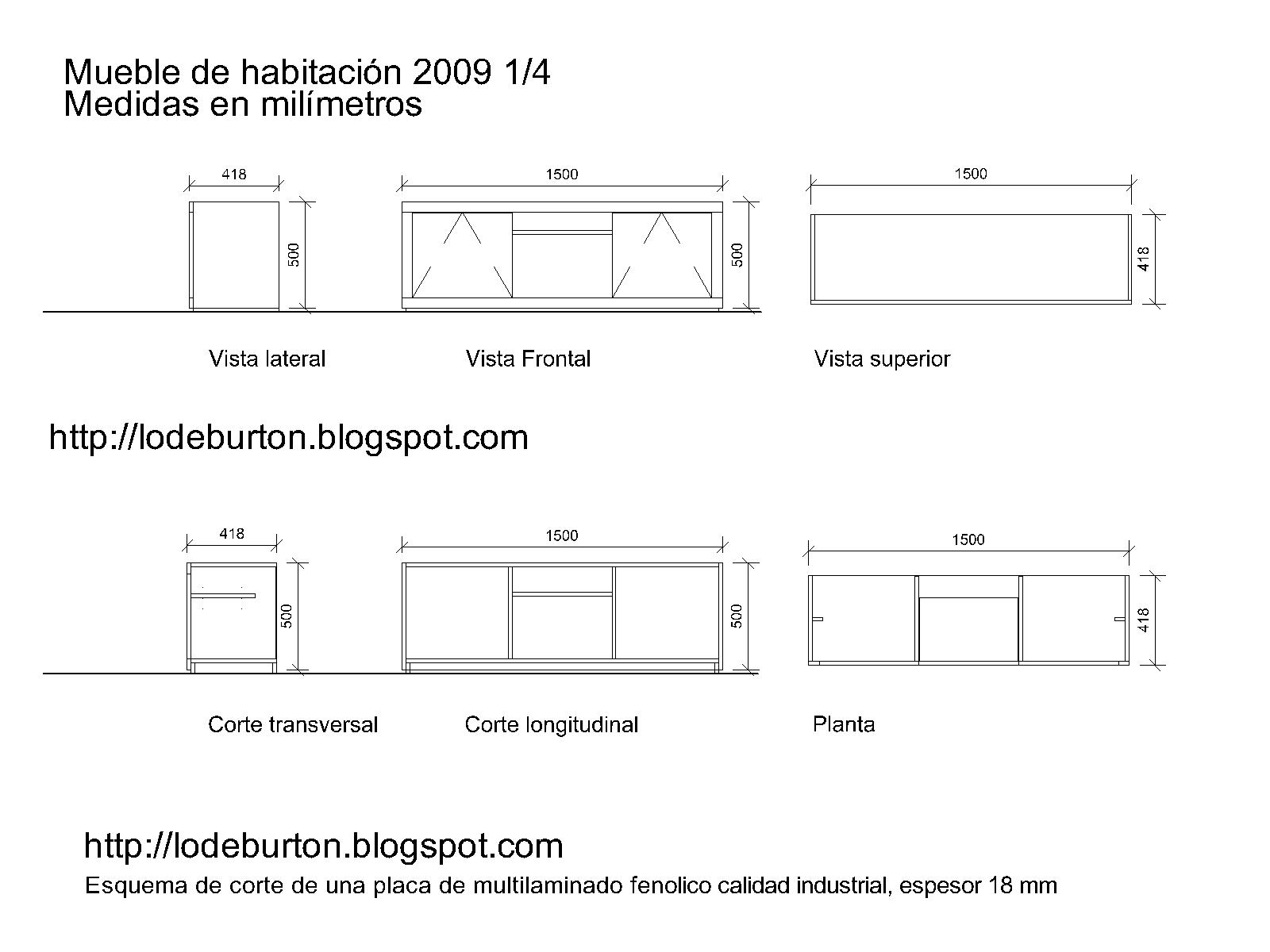 Lo de burton mueble de tv para habitaci n o living for Medidas de muebles pdf