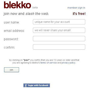 blekko register form