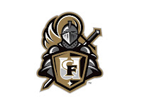 Silver knight mascot logo holding a gold, black, and white shield with the UCF logo.