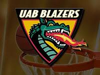 triangle UAB logo with a long necked green dragon spitting fire. The background is an out of focus basketball going through a netted hoop.