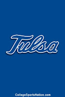 Light blue background with light blue word Tulsa.  Contrast in letters and background with black and white trim.