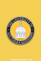 The University of Southern Mississippi seal with founding year 1910 on yellow background.