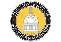 Round University of Southern Mississippi seal with white background.