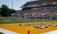 End zone of football field at Southern Miss stadium.